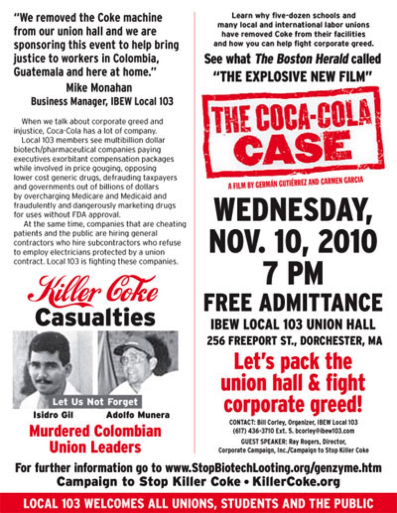 IBEW Local 103 Flyer showing The Coca-Cola Case
